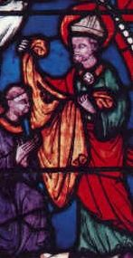 19th-century stained glass window with an image of Bishop Austremonius of Clermont (not Sidonius Apollinaris, as commonly thought) in the cathedral of Clermont-Ferrand, France.