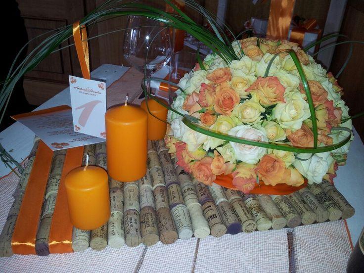 Wedding Centrepiece  #centrepiece #wedding #creation #wine #roses #orange