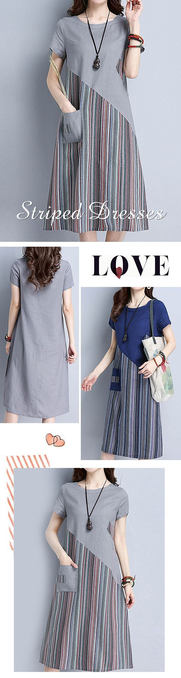 US$ 25.51 Striped Patchwork O Neck Short Sleeve Pocket Women Dresses