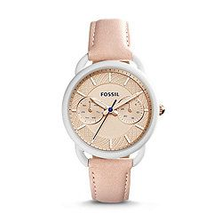 Fossil £125 Tailor Multifunction Blush Leather Watch