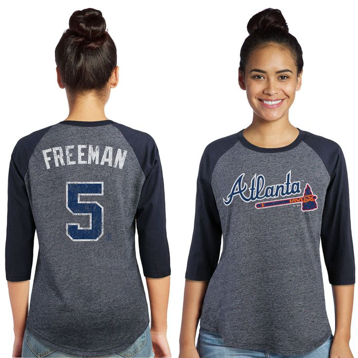 Majestic Threads Freddie Freeman Atlanta Braves Women's Navy 3/4-Sleeve Raglan Name & Number T-Shirt