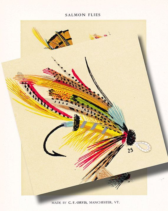 c f orvis fly fishing print.... bright and colorful Salmon fish flies....instant download... digital illustration no. 958 on Etsy, $4.00