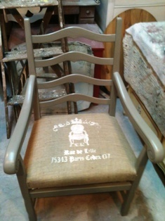 redone chair with burlap seat and stencil