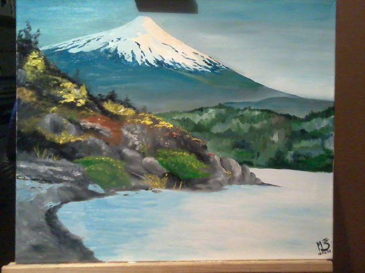 """""""La casa de los espíritus"""" óleo sobre tela. Volcán Villarrica, Chile Villarrica Volcano. Creación propia. MZ"""