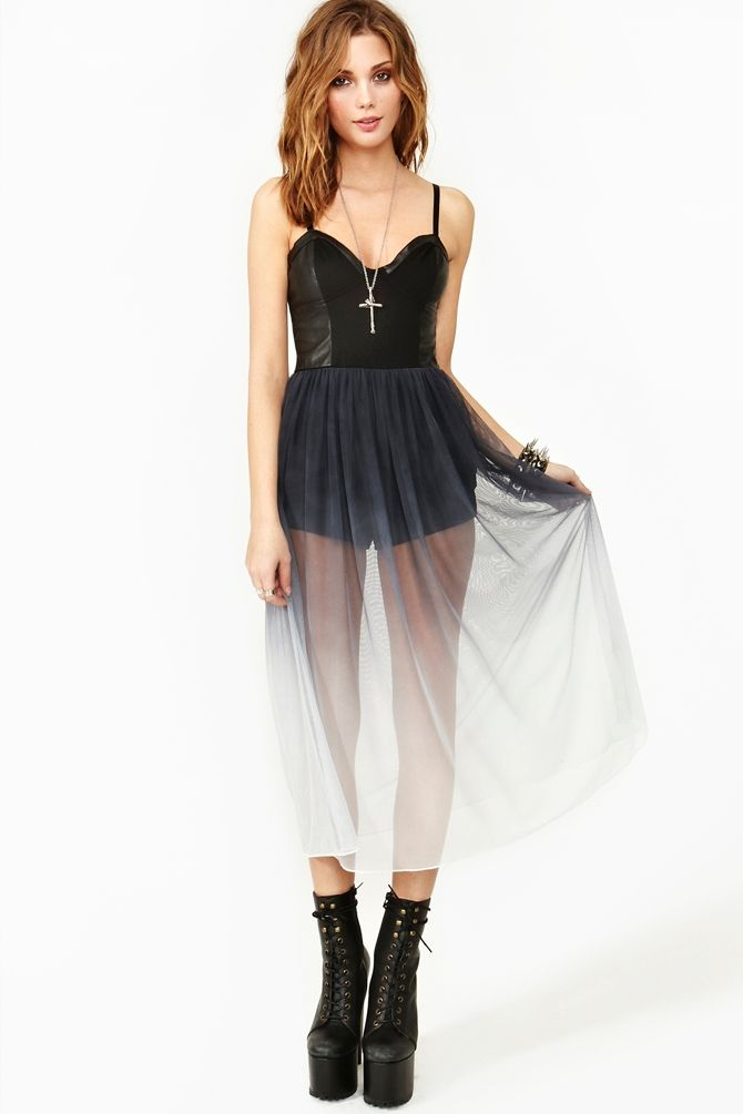 Ombre chiffon, and leather dress from Nasty Gal. I want!!