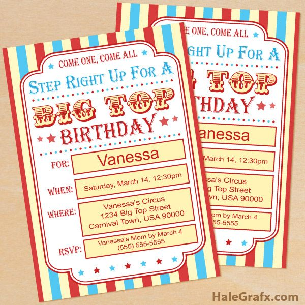 Click here to download a FREE Printable Circus Carnival Birthday Invitation Set!