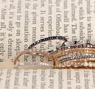 LOVE STACKS!! Micro Pave Diamond Band in Yellow, rose, white Gold - White Diamond. $350.00, via Etsy.