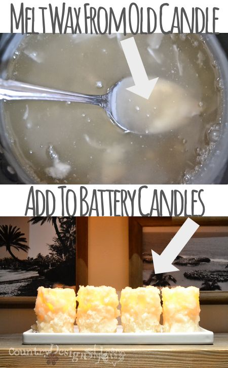 Do you love the safety of battery candles but not the look?  Here's a simple idea to add wax from old candles to the sides of battery candles.  Great HACK of expensive flameless candles!  before and after http://countrydesignstyle.com #batterycandles #candles #lighting