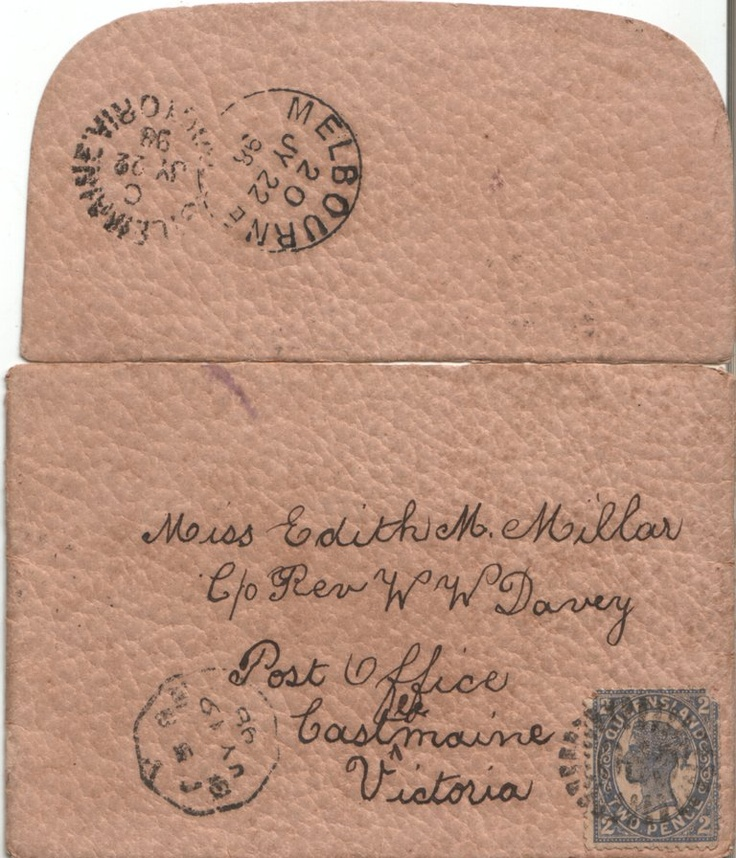 18 July 1898 Envelope of Letter from Emily REID in Brisbane, to her Cousin, Edith MILLAR, who was staying with Rev. & Mrs. W. W. Davey at Castlemaine. Written on 18th July, and received at Castlemaine on 22nd July. Australia Post, eat your heart out!