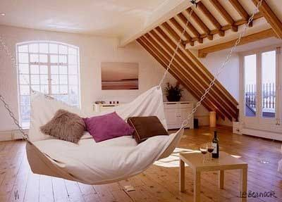A swing in the attic. Perfect.: Idea, Hanging Beds, Indoor Hammocks, Dream, Swings, Hammocks Beds, Beans Bags, House, Beanbag