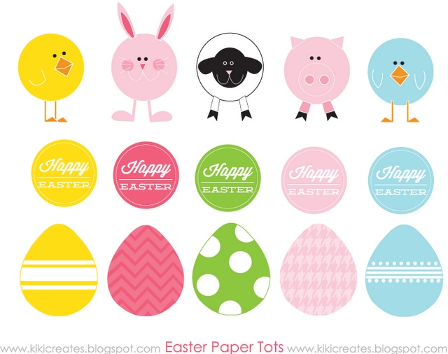 Easter Paper Tots- free Easter printable for diy cupcake toppers and more!