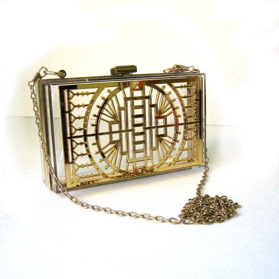 Clear Transparent Clutch - Gold Mirror Art Deco Laser Cut Acrylic Purse on Etsy, $45.00