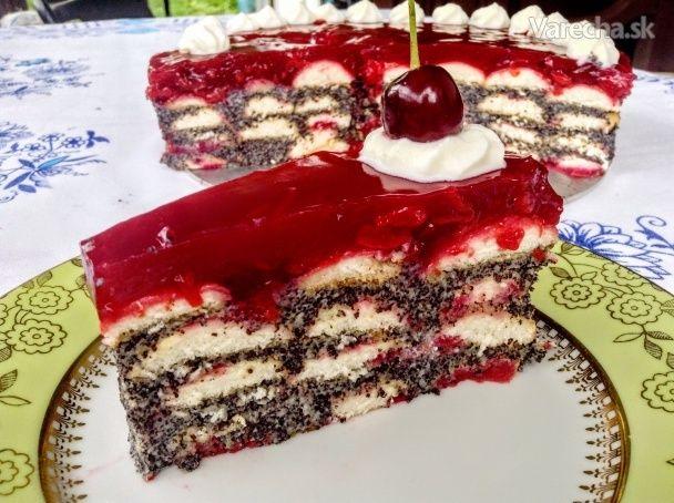 Nepečená maková torta s višňami (fotorecept)