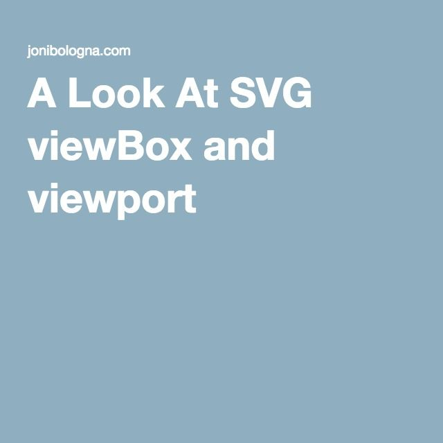 A Look At SVG viewBox and viewport