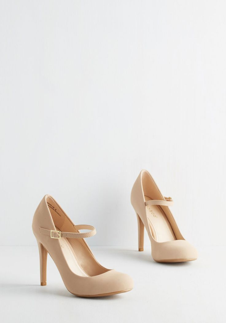 Shoe Had Me At Hello Heel in Beige. Its sure to be love at first step when you buckle into these beige Mary Jane heels. #tan #wedding #modcloth