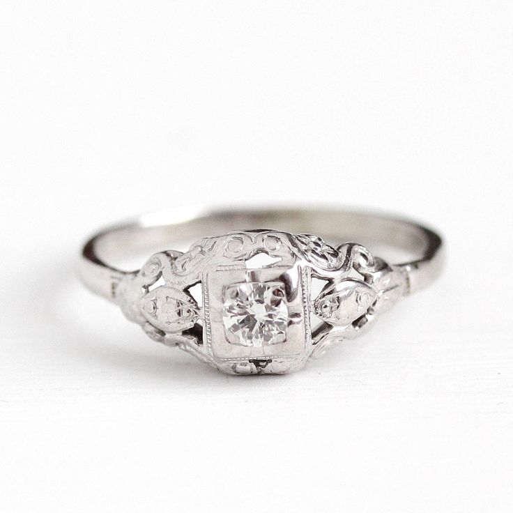 Sale - Platinum Diamond Ring - Vintage .13 CT Size 6 3/4 Art Deco 1930s Engagement Promise - Wedding Bridal Fine Flower Engraved Jewelry by MaejeanVintage on Etsy https://www.etsy.com/listing/512003784/sale-platinum-diamond-ring-vintage-13-ct