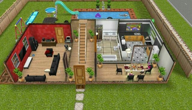 sims freeplay houses floor plans plan designs bottom sim layouts play open blueprints homes main room bungalow template kitchen ba