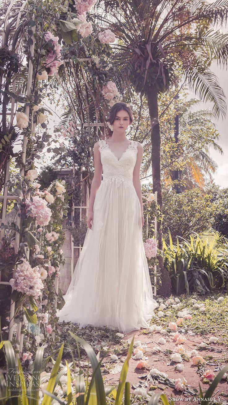 snow annasul y 2017 bridal (sa3332b) sleeveless thick straps vneck lace bodice a line wedding dress mv romantic