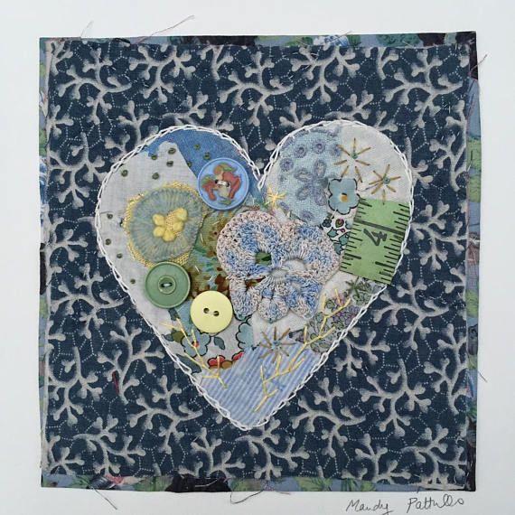 Sans cadre coeur appliqued avec broderie sur vintage quilt scrap