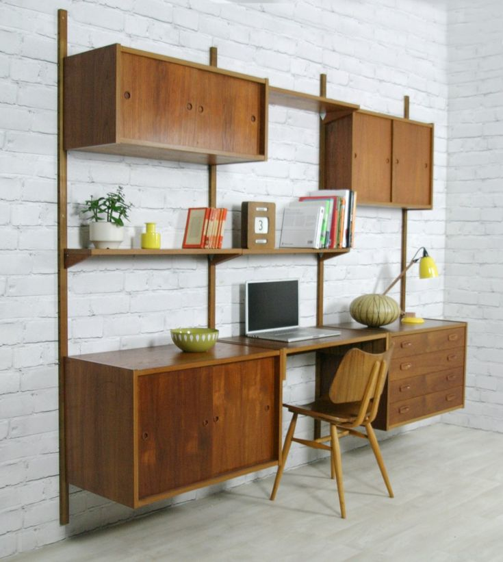 Vintage Modular PS Wall System Designed By Preben Srensen For Randers C1960 Living Room DeskErcol