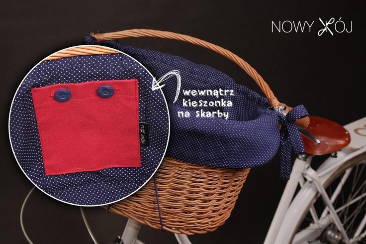 wicker bicycle basket with lining / rowerowy koszyk wiklinowy z wyściółką, author/autor http://www.facebook.com/nowykroj