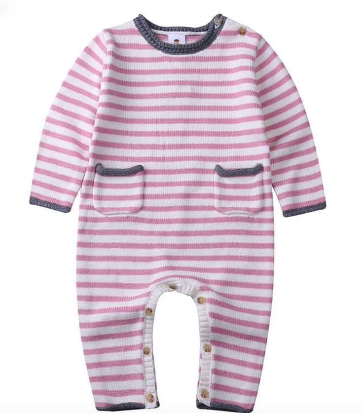 Baby Girl Basic Stripe Knit Romper