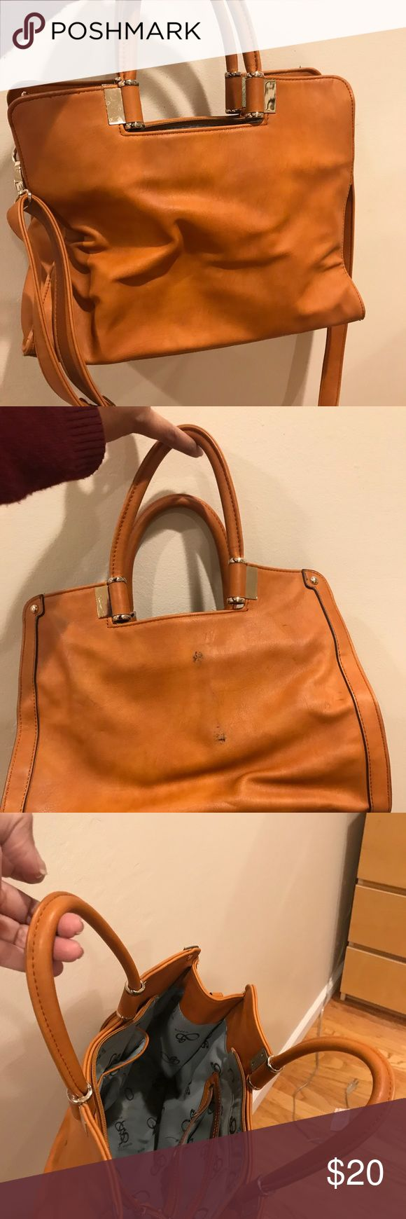 Segolene Paris - box medium tote in mustard color This tote is lightly used.  Has  couple of ink marks on the side...they are pictured above.  13 once laptop can fit in this. Segolene Paris Bags Totes