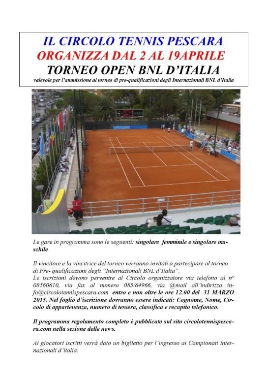 Si sta disputando sui campi del Circolo Tennis Pescara il Torneo Open BNL d'Italia di prequalificazioni agli Internazionali d'Italia. Sono in programma oggi incontri del tabellone di 2° categoria maschile e femminile.