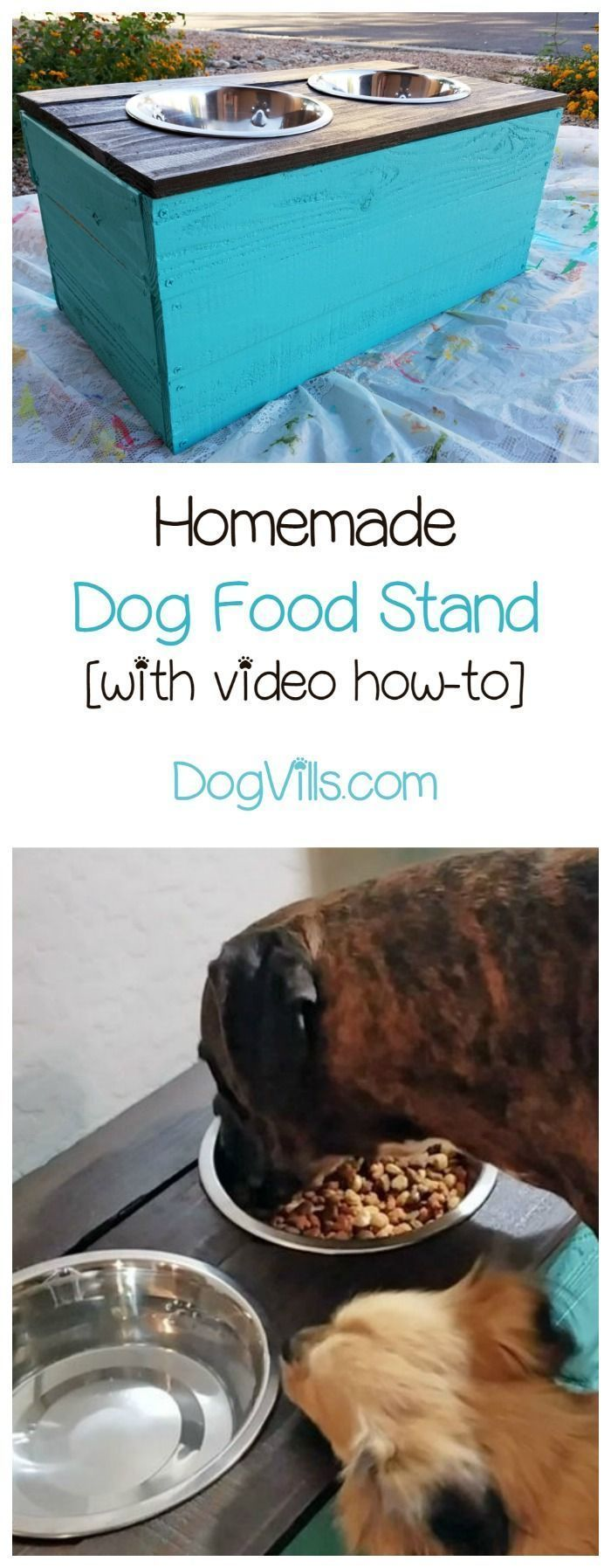 Keep your pets' food off the floor with this DIY homemade dog food stand. It's one of our favorite inexpensive dog accessories to make! Video tutorial included.