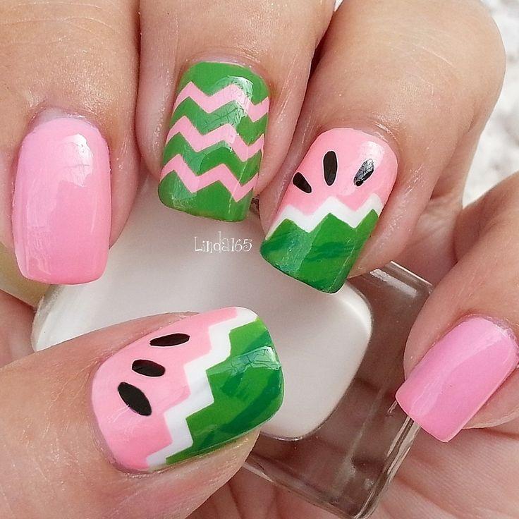 abstract watermelon nails