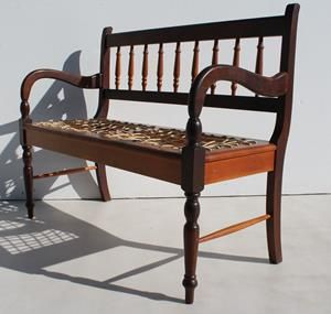 Two Seater Imbuia and Yellowwood Riempies Bench   Size : 1100 L x 440 W x 910 H  @R1999  0767064700  www.furnicape.co.za