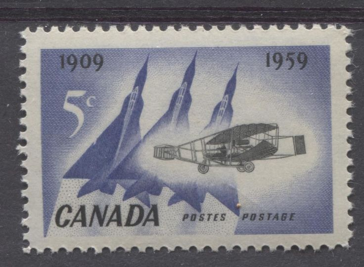 Canada #383 5c Blue And Black 1959 Silver Dart And Jet Planes VF 75/80 NH