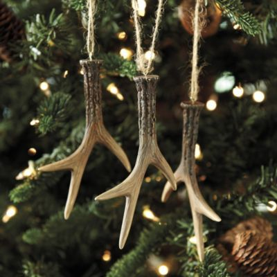 Set of 3 Faux Antler Ornaments | Ballard Designs, Perfect for my Cabin's Christmas Tree!
