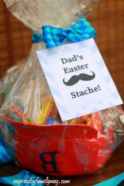 Easter Basket Gift Idea: Dad's Easter Stache - Honestly, I hadn't thought about getting the hubs an Easter basket but this is a great idea.  Do adults in your family get Easter baskets?