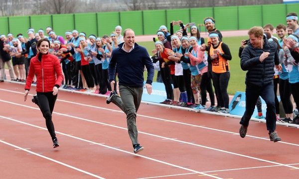 The Duke and Duchess of Cambridge and Prince Harry join Team Heads Together at a London Marathon Training Day at the Queen Elizabeth Olympic Park on February 5, 2017 in London,  England.