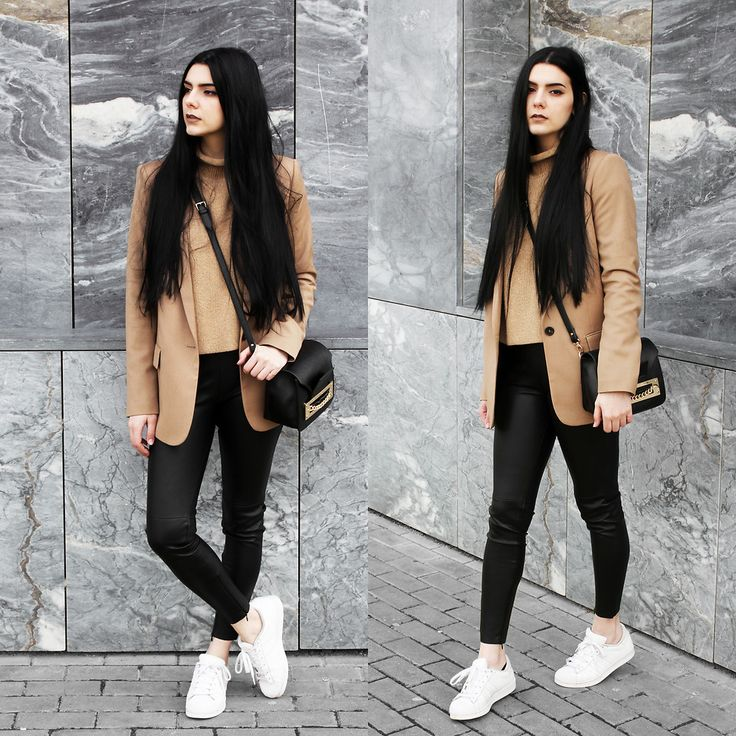 Holynights Claudia - Sheinside Turtleneck Camel Sweater, Zara Camel Blazer, Sheinside Leather Look Leggings - Casual in camel and leather | LOOKBOOK