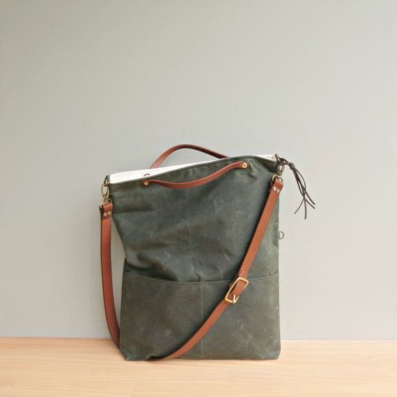 Convertible Waxed Canvas Tote with Leather Strap in Avocado Green, Waxed Canvas Bag, Crossbody Purse, Plus Size Foldover Bag, Made in USA