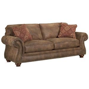 Laramie Quick Ship Faux Leather Transitional Sleeper Sofa with Nail Head Trim by Broyhill Express - Knoxville Wholesale Furniture - Sofa Sleeper Knoxville, Tennessee