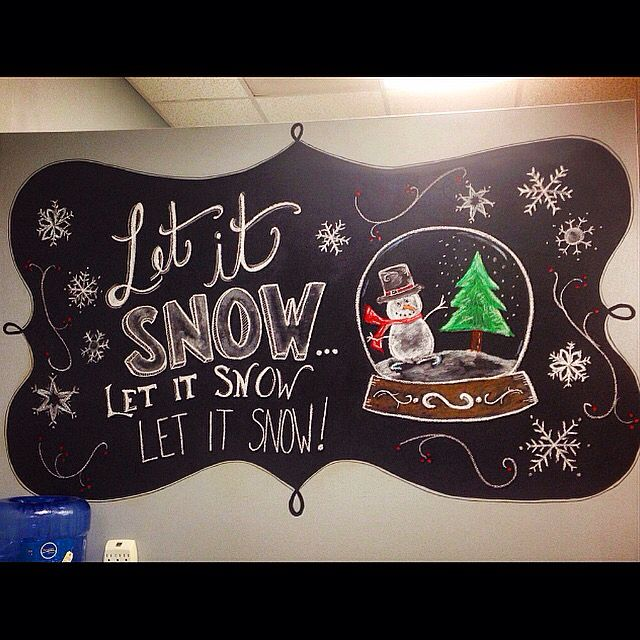 Chalk wall art at The Haircut Place for winter.