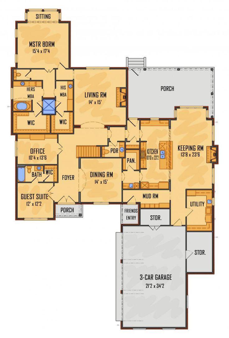 House floor plan mascord ton ranch home plans custom for Custom mansion floor plans
