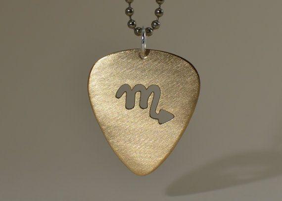 Vce ne 25 nejlepch npad na pinterestu na tma guitar pick 14k gold guitar pick necklace with cut out zodiac symbol aloadofball Image collections