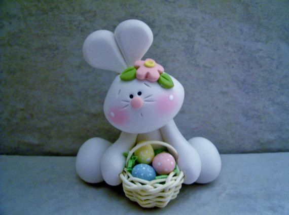 Bunny  Basket of Eggs  Polymer Clay  Easter by countrycupboardclay