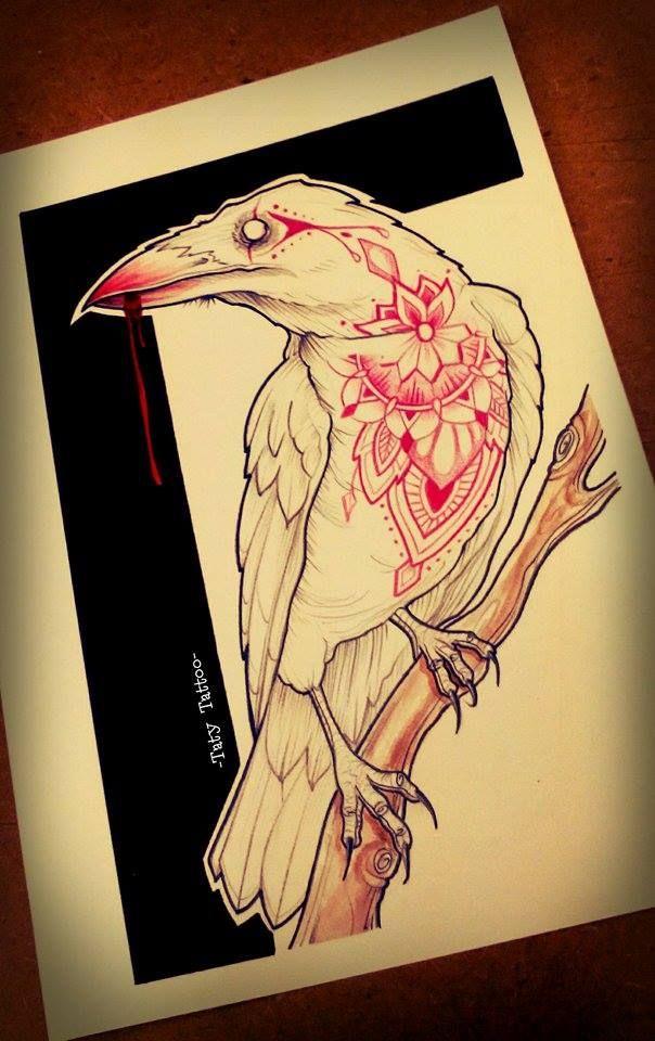 Crow, raven, white, blood, mandala, made by -Taty Tattoo-