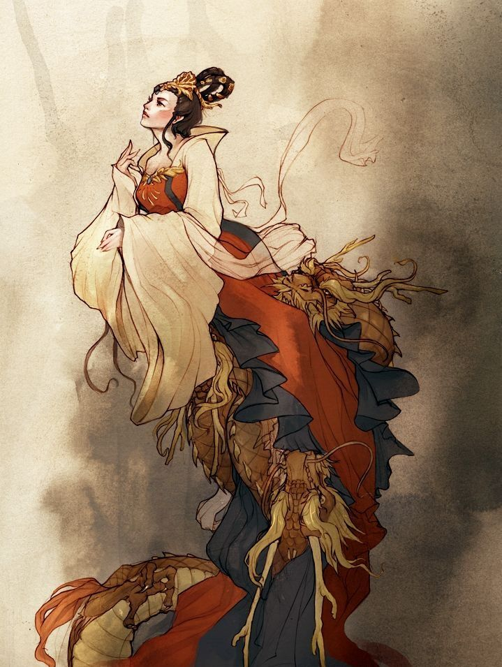 In Chinese mythology, Long Mu (simplified Chinese: 龙母; traditional Chinese: 龍母; pinyin: lóng mǔ; Wade–Giles: lung mo) or Mother of Dragons was a Chinese woman who was deified as a goddess after raising five infant dragons. Long Mu and her dragons developed a strong bond for each other, and have thus become an example of filial devotion and parental love, an important virtue in Chinese culture.