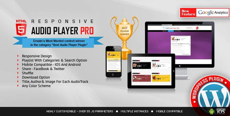 You're looking for the best one for your website. So here are the top 10+ Brilliant HTML5 Audio Player WordPress Plugins with features like: sticky version, playlist, continuous playback, color scheme