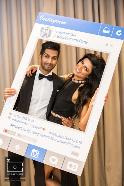 DIY Engagement party - Instagram photo booth - fun engagement party ideas - modern Indian wedding - Nakul weds Nikki 2015 #thecrimsonbride
