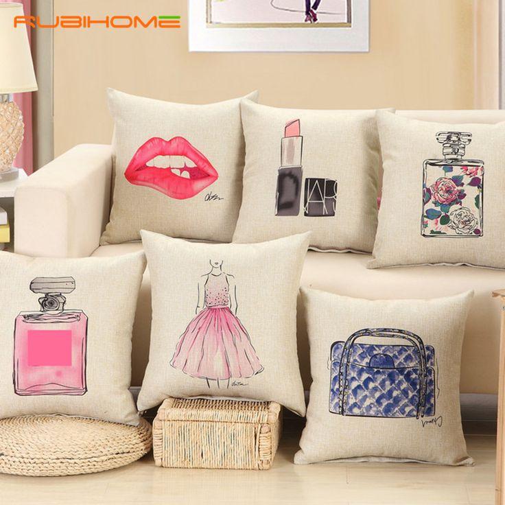 ファッション赤い唇クッション内輪なし口紅香水瓶ホームソファ装飾枕カーシートcapaデalmofada cojines
