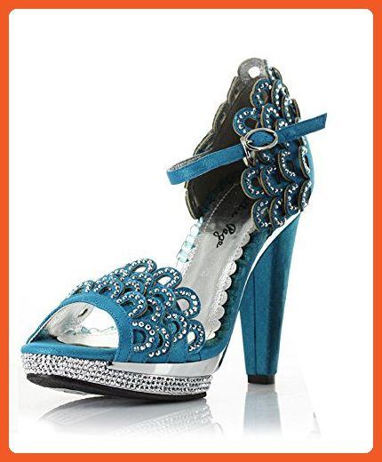 Bettie Page Womens BP461 Lourdes Pumps Shoe, Blue, Size - 6 - Sandals for women (*Amazon Partner-Link)
