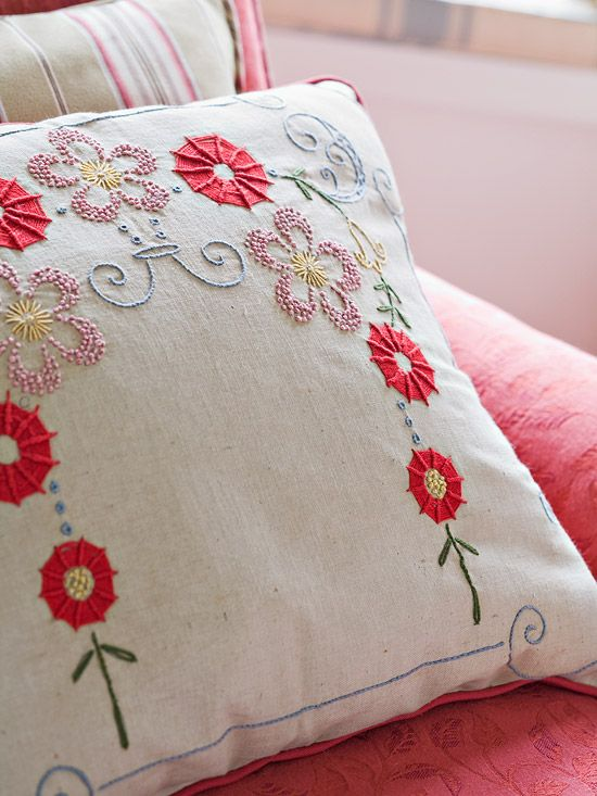 Embroidered #Pillow. This is why I can't help but collect embroidered tea towels and tablecloths. #embroidery