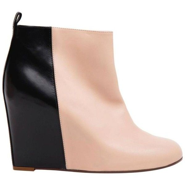 Preowned Celine Black & Pink Wedge Ankle Boots (£900) ❤ liked on Polyvore featuring shoes, boots, ankle booties, pink, leather bootie, wedge ankle boots, black wedge boots, leather ankle boots and short black boots